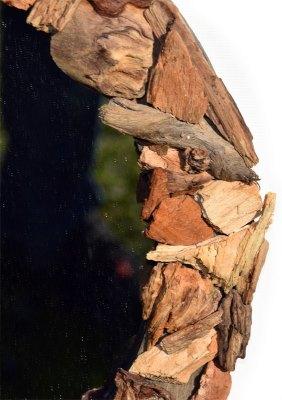 Treibholz Spiegel Rund 35 cm mit Holzscheiben