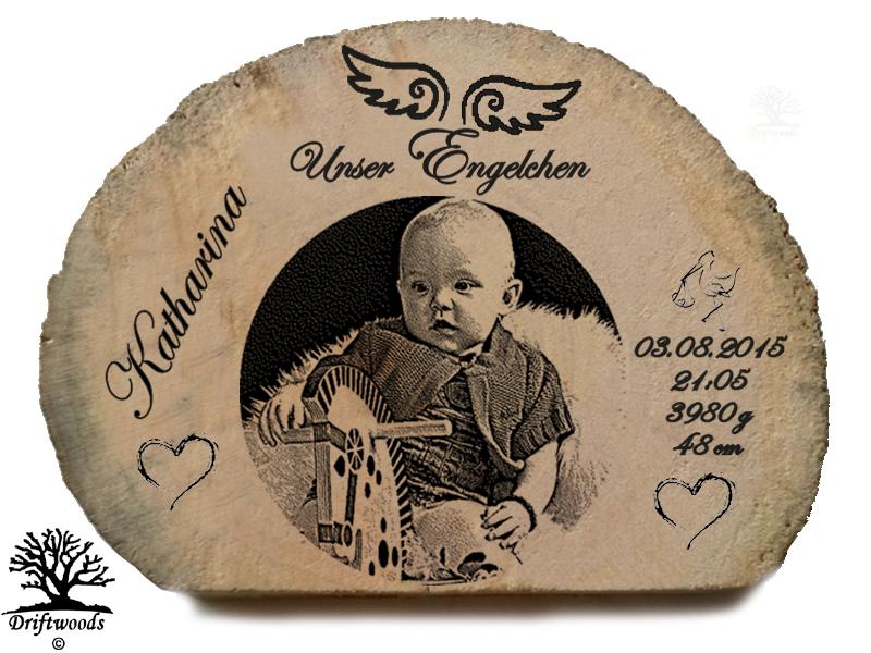 Treibholz Aufsteller mit Gravur zur Geburt
