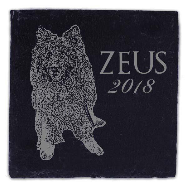 Schieferplatte Untersetzer mit Gravur Schäferhund