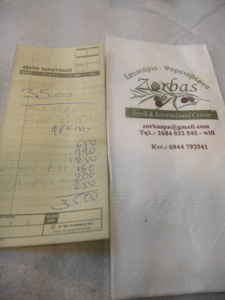 Our bill at restaurant Zorbas