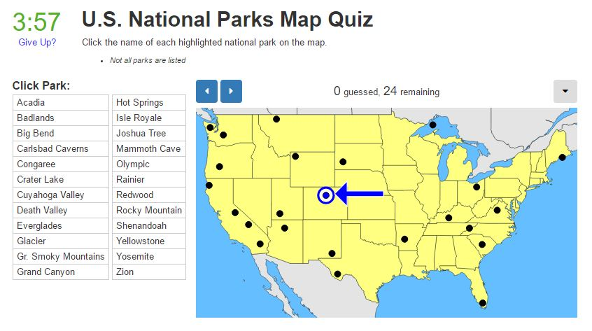 Tuesday Quiz US National Parks Map Trekking The Planet - National park map us
