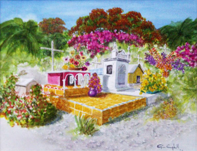 Isla Mujeres Cemetery Painting