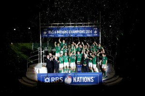 Podium shot of Ireland receiving 2014 RBS 6 Nations Trophy