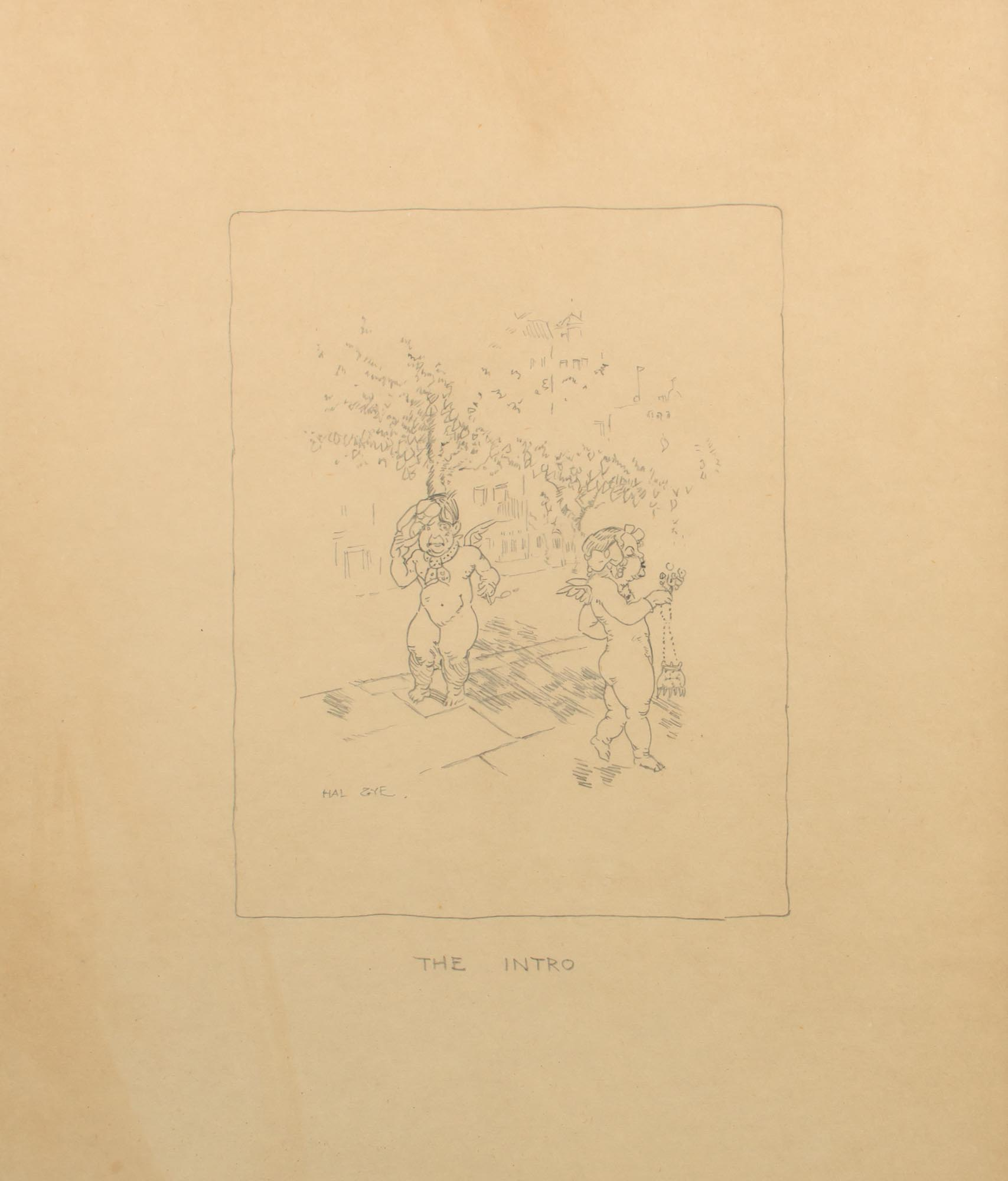 hight resolution of three original pencil drawings being facsimile illustrations of his artwork in the