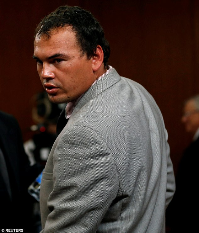 Married father of two Oosthuizen, 29, pictured, was sentenced to 16 years with five years suspended, meaning he will serve 11 years