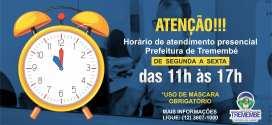 Novo horário de atendimento Prefeitura Municipal de Tremembé