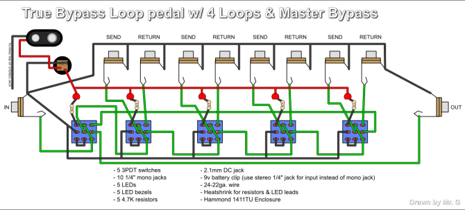 true bypass looper wiring diagram led indicator 3pdt switch