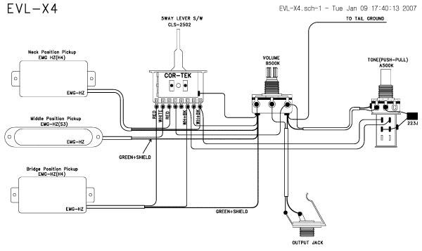 EVL X4 04 ,HSH,schematics, Guitar pickup wiring systems
