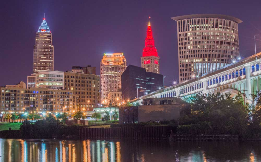 Cleveland Skyline From The Flats Tremont Film And Digital