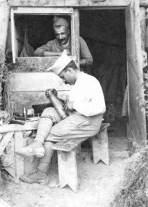 Men making Trench Art