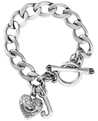 JUICY COUTURE Bracelet Pave Heart Starter Silver