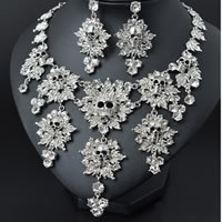 Trendy Rhinestone Skull Necklace and Earrings Set