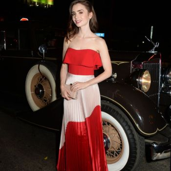 Lily Collins in Jimmy Choo Red Anouk Pumps and Carried Jimmy Choo Celeste Clutch