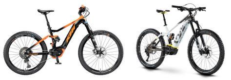 MACINA KAPOHO, das Top E-Fully Mountainbike im KTM-Katalog (Preis: 5.899 €) und rechts der bullige Herausforderer HUSQVARNA HARD CROSS HC8 (Preis: 5.999 €)