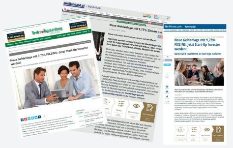 kitzVenture Advertorials auf den Portalen tt.com, derstandard.at und diepresse.com (Jänner 2017)
