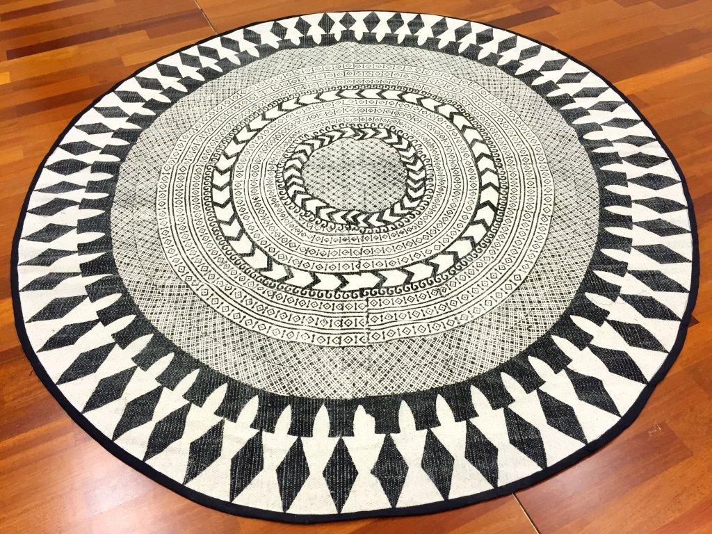 tapis rond marrakech rond noir gris blanc