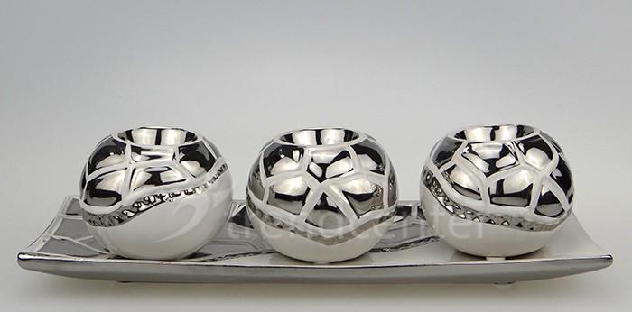 Keramik Deko Kerzenhalter Set 4 teilig schwarz weiss  eBay