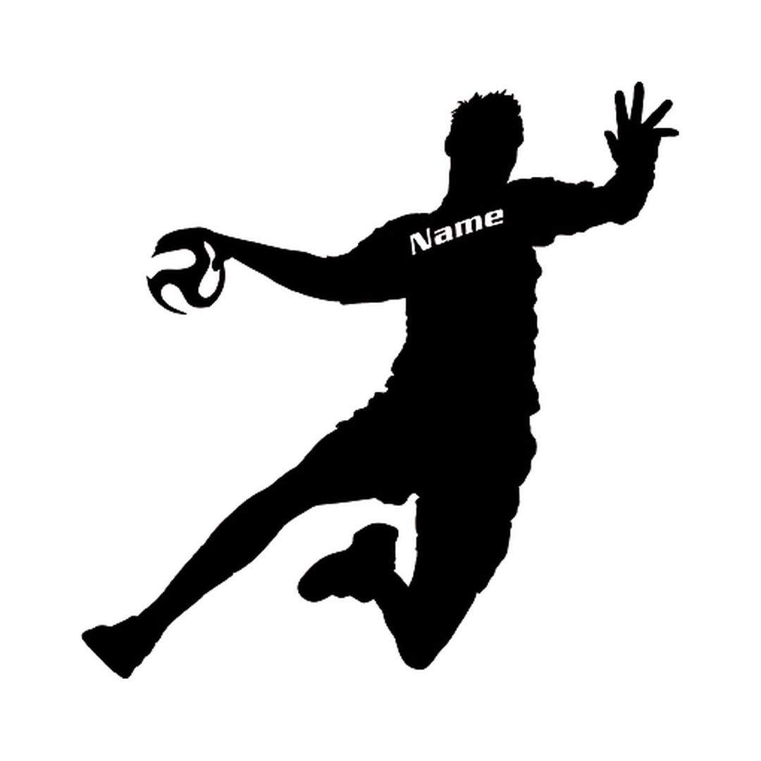 wandtattoo wunschtext handball spieler