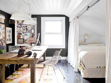 Best Home Office Ideas With Black Walls 03
