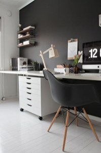 Best Home Office Ideas With Black Walls 17