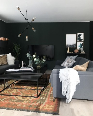 Best Living Room Ideas With Black Walls 24