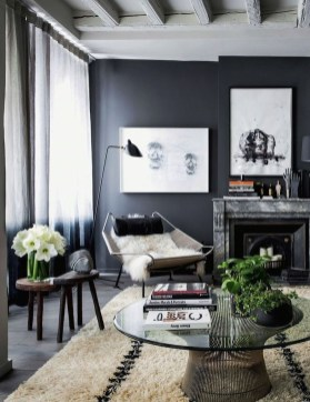 Best Living Room Ideas With Black Walls 43