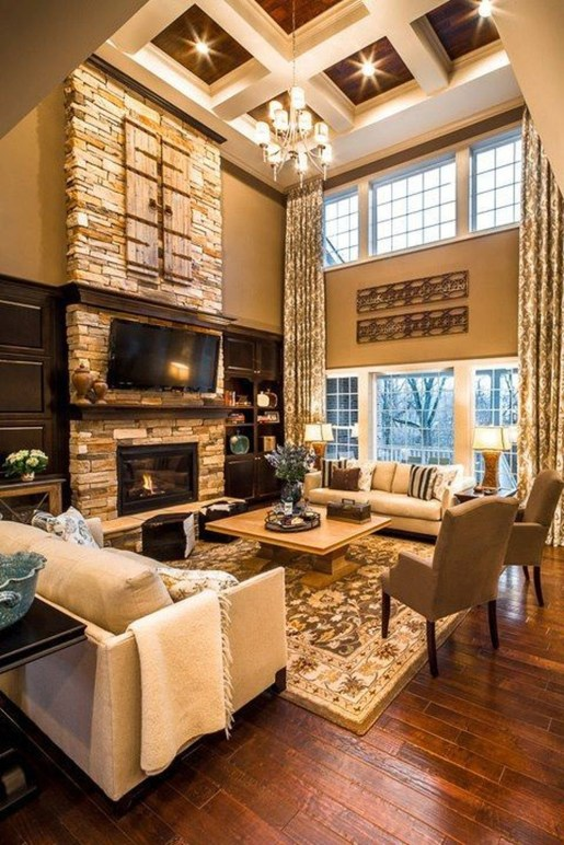 Comfy Winter Living Room Ideas With Fireplace 25