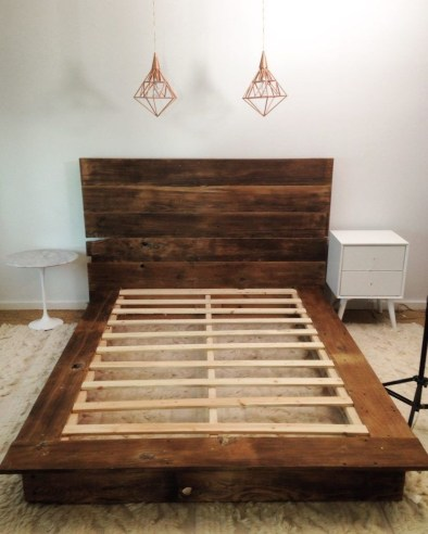 Lovely Diy Wooden Platform Bed Design Ideas 48