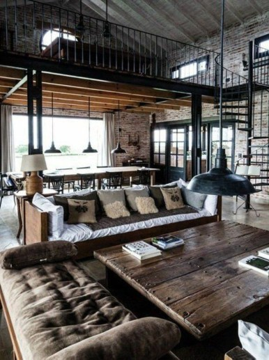 Perfect Industrial Style Loft Designs Ideas For Living Room 50