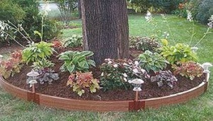 Adorable Flower Beds Ideas Around Trees To Beautify Your Yard 49