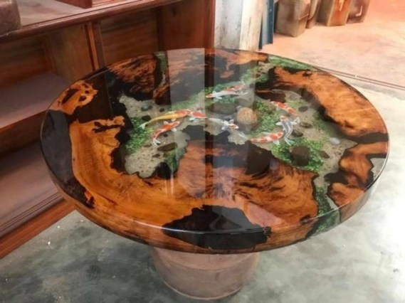 Impressive Home Furniture Ideas With Resin Wood Table 36