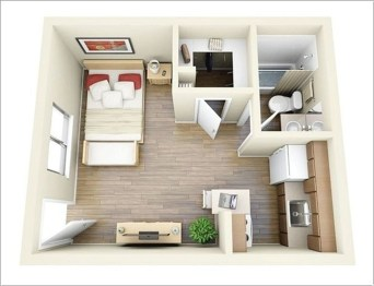 Adorable One Bedroom Apartment Design Idas25