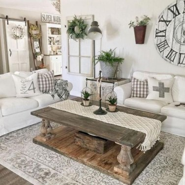 Awesome Living Room Design Ideas With Farmhouse Style26
