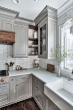 Incredible Farmhouse Gray Kitchen Cabinet Design Ideas10
