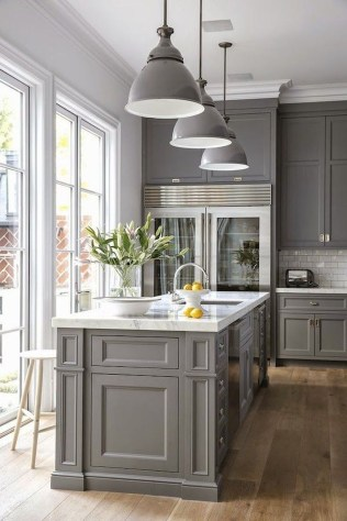 Incredible Farmhouse Gray Kitchen Cabinet Design Ideas39