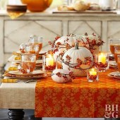 Lovely White And Orange Pumpkin Centerpieces For Fall And Halloween Table03