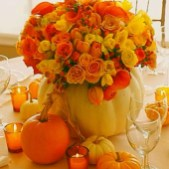 Lovely White And Orange Pumpkin Centerpieces For Fall And Halloween Table04