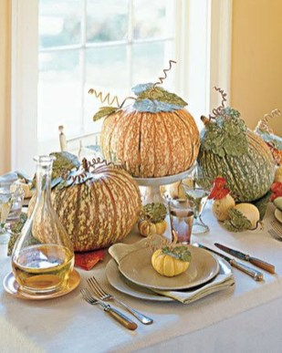 Lovely White And Orange Pumpkin Centerpieces For Fall And Halloween Table37