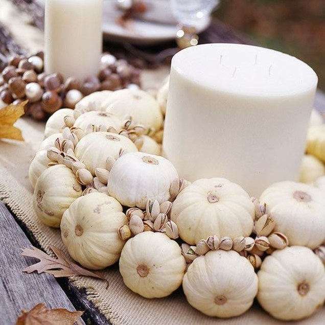 Lovely White And Orange Pumpkin Centerpieces For Fall And Halloween Table41