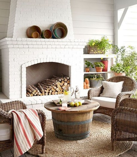 Modern Brick Fireplace Decorations Ideas For Living Room14