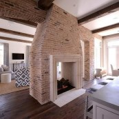 Modern Brick Fireplace Decorations Ideas For Living Room17