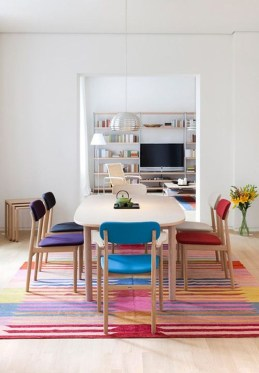 Stunning Dining Room Design Ideas With Multicolored Chairs36