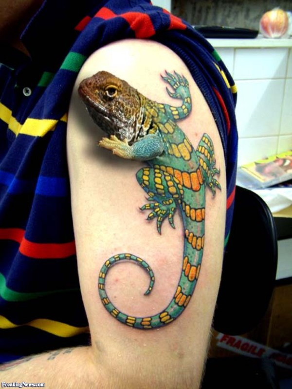 3D Lizard Tattoo