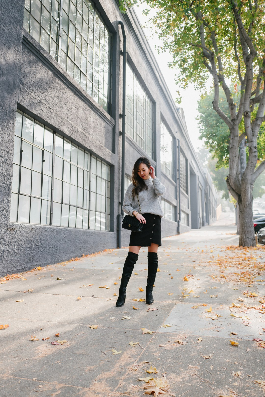 A Favorite Outfit Combination Sweater Skirt Over The Knee Boots