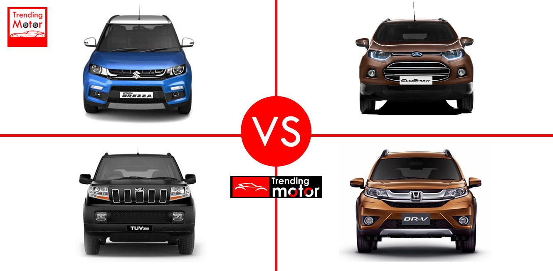 Maruti Suzuki Vitara Brezza Vs Ford EcoSport Vs Mahindra TUV300 Vs Honda BRV – Comparison