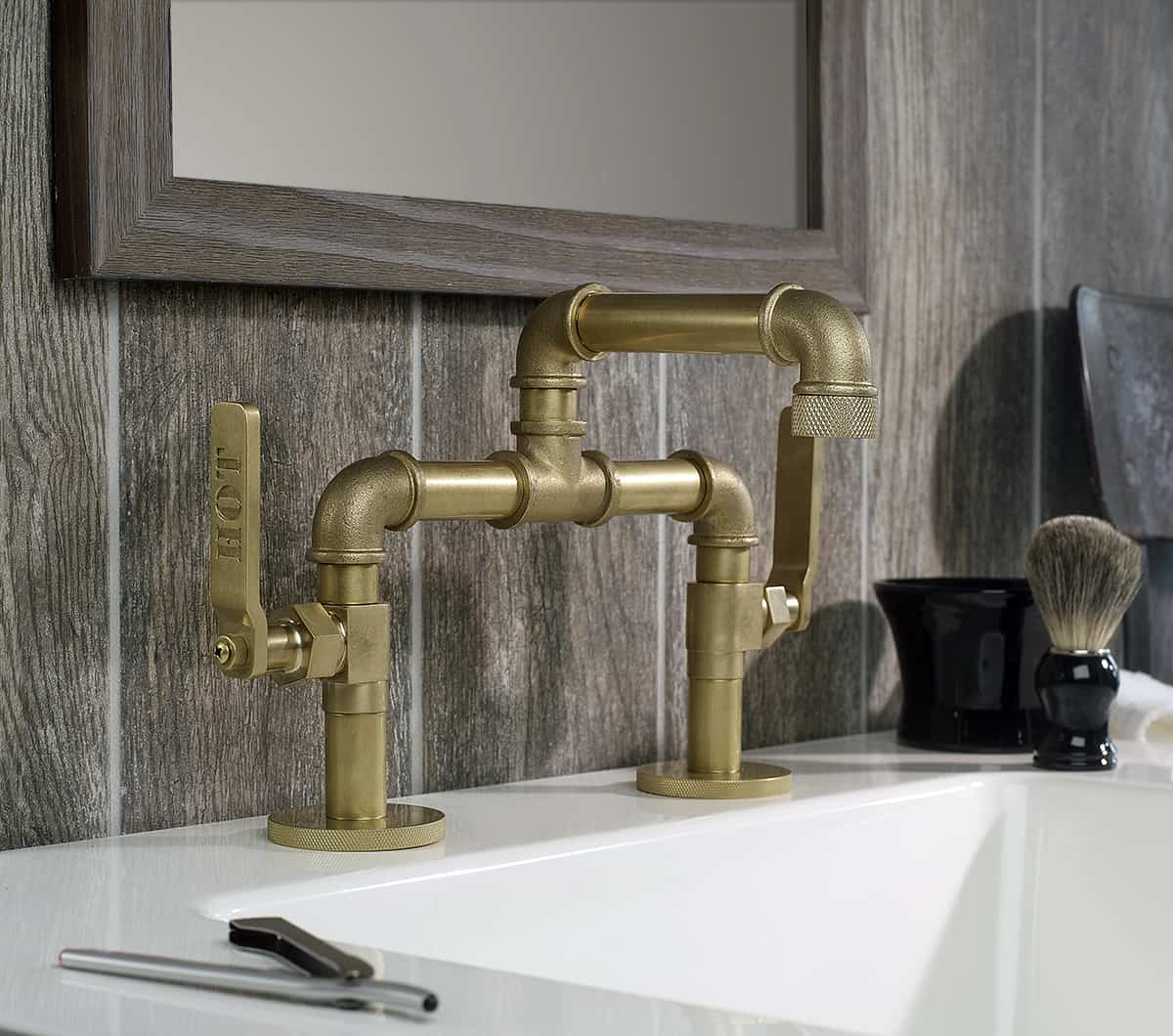 four hole kitchen faucets modern white gloss cabinets industrial style by watermark to give your ...