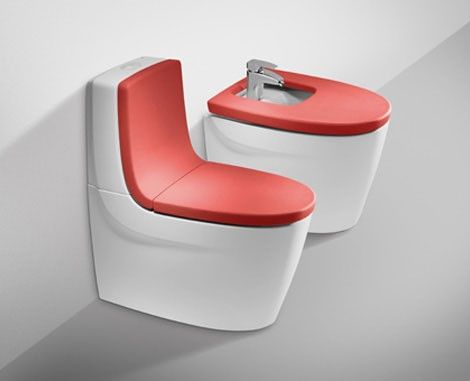Color bathroom from Roca - Khroma in red