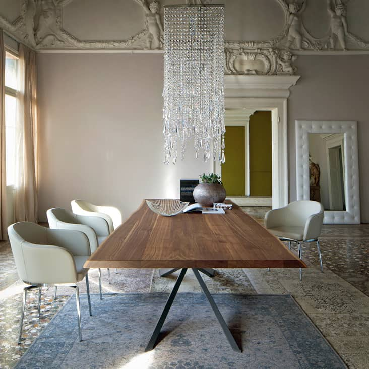 Dining Table With Irregular Solid Wood Edges By Cattelan Italia