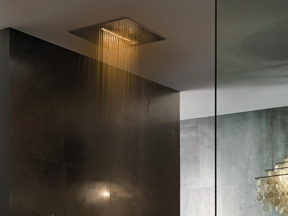 designer kitchen faucets old fashioned overhead chromotherapy showerhead from fantini: acqua zone ...