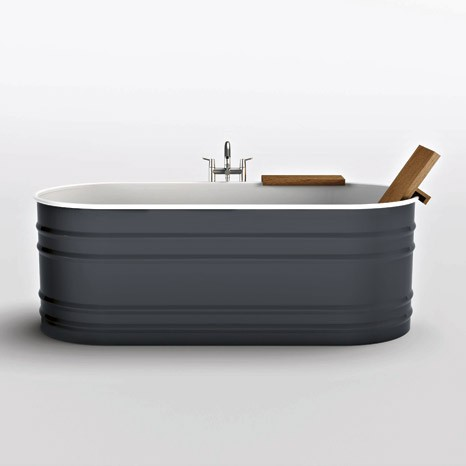 Steel tub from Agape Vieques in grey